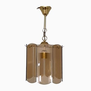 Vintage German Gold Plated Metal and Smoked Glass Ceiling Lamp from Wortmann & Filz, 1970s