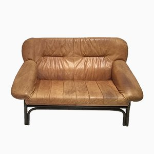 Mid-Century Brown Leather and Bamboo Frame Sofa, 1970s