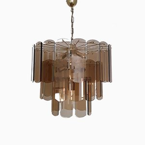 Large Vintage German Gilded Metal and Smoked Glass Ceiling Lamp from Wortmann & Filz, 1970s