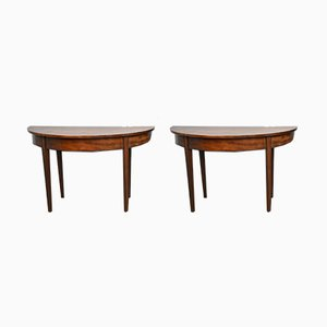 Antique Georgian Mahogany Demi Lune Console Tables, Set of 2