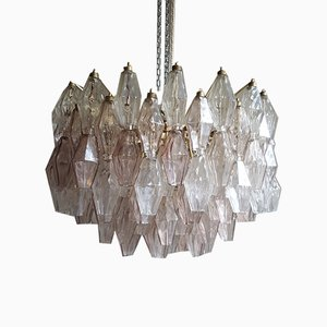 Pink and Clear Transparent Polyhedra Chandeliers by Carlo Scarpa for Venini, 1958, Set of 2