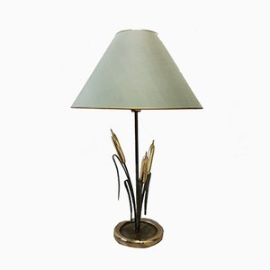 Italian Hollywood Regency Brass & Copper Cattail Table Lamp, 1970s