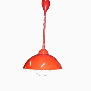 Mid-Century Italian Red Adjustable Ceiling Lamp