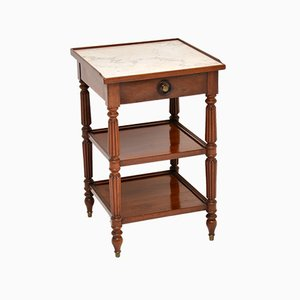 Antique French Marble Top Mahogany Side Table