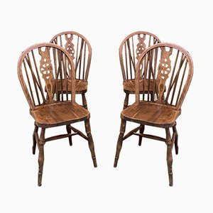 English Oak Dining Chairs, 1950s, Set of 4