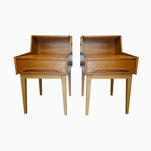 Scandinavian Teak Nightstands, 1960s, Set of 2