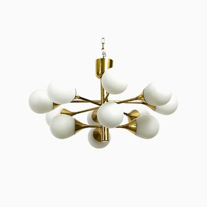 Space Age Brass Ceiling Lamp with 12 Oval Glass Balls, 1960s
