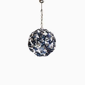 Blue Glass Sputnik Ceiling Lamp from Fontana Arte, 1950s
