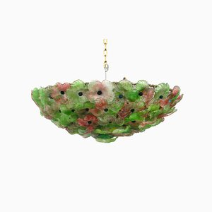 Italian Ceiling Lamp with Pink Green Murano Glass Flowers from Barovier & Toso, 1960s