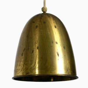 Large Mid-Century Brass Pendant Lamp with 3 Sockets, 1950s