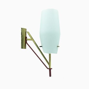 Mid-Century Italian Brass & Red Lacquered Metal Sconce, 1960s