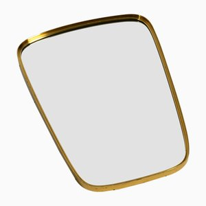 Mid-Century Modern Wall Mirror with Heavy Brass Frame from Münchner Zierspiegel, 1950s