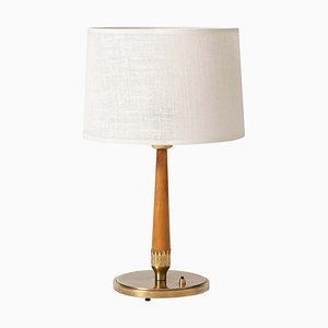 Brass and Beech Table Lamp from Böhlmarks, 1940s