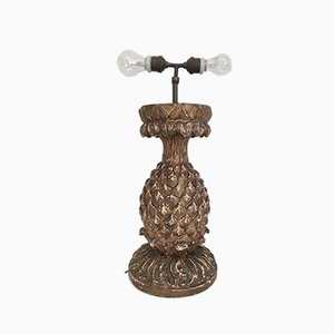 19th Century Stuccoed Wooden Pineapple Table Lamp
