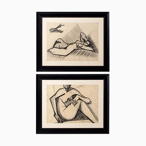 Original Nude Drawings from Marceau Constantin, 1940s, Set of 2