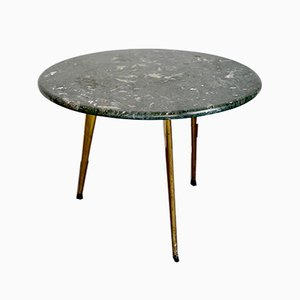 Italian Brass and Green Marble Side Table, 1950s