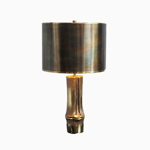 Vintage French Gilded Bronze Bamboo Table Lamp by Chrystiane Charles for Maison Charles, 1970s