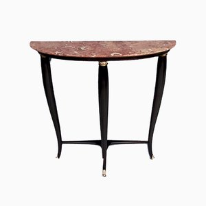Mid-Century Italian Ebonized Beech Console Table with Red Marble Top, 1950s
