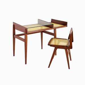 French Mahogany and Cane Desk and Chair Set by Roger Landault, 1950s