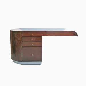 Lacquered Hardwood and Steel Cantilever Desk Attributed to Karl Springer for Jimeco, 1970s