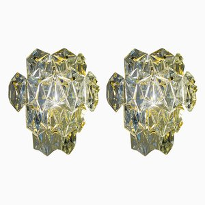 Regency Gold-Plated Wall Lights with Faceted Crystal Glass Prisms from Kinkeldey, Set of 2