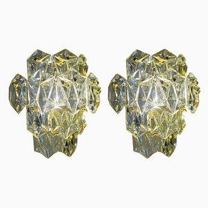 Regency Vergoldete Wandleuchten mit Facettierten Kristallglas Prismen von Kinkeldey, 2er Set