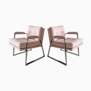 Mid-Century American Chrome and Pale Pink Velvet Armchairs from Patrician Furniture, 1970s, Set of 2