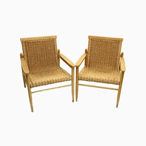 Mid-Century Rattan Lounge Chairs from Uluv, Set of 2