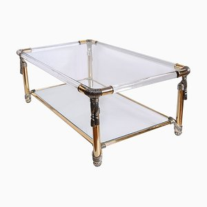 Spanish Hollywood Regency Style Sculptural Lucite and Glass Rope Coffee Table from Curvasa Muebles, 1970s