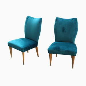 Italian Petrol Green Velvet Lounge Chairs, 1950s, Set of 2