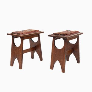 Solid Oak Stools, 1920s, Set of 2