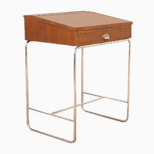 Mid-Century Swiss Chrome Plated Tubular Steel and Oak Veneer Lectern