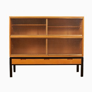 Mid-Century Swiss Black Lacquered Solid Wood and Elm Veneer Highboard