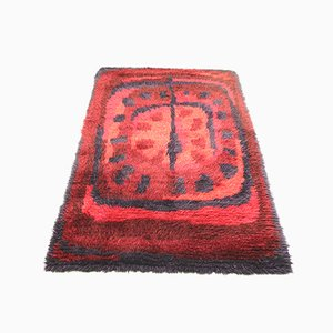 Hand-Knotted Red Woolen Rug, 1960s