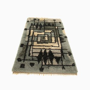 Swedish Hand-Knotted Blue Rug, 1960s