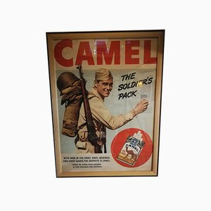 Art Deco Camel Advertisement Lithograph Poster, 1940s