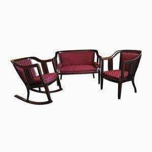 Antiker Secession Armlehnstuhl, Sofa und Schaukelstuhl Set