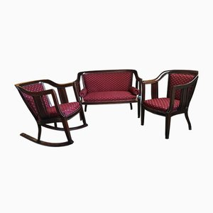 Antique Secession Armchair, Sofa, and Rocking Armchair Set