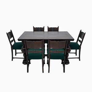 Antique Eclectic Dining Table & Chairs Set, Set of 7