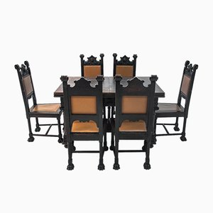 Antique Renaissance Style Dining Table & Chairs Set, Set of 7