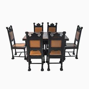 Set di sedie e un tavolo da pranzo in stile rinascimentale antico, set di 7