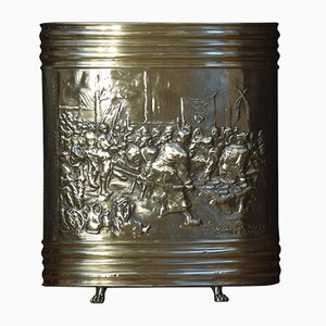 Antique Dutch Brass Embossed Umbrella Stand