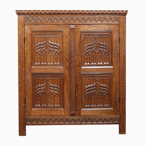 Gothic Style Carved Cupboard, 1950s