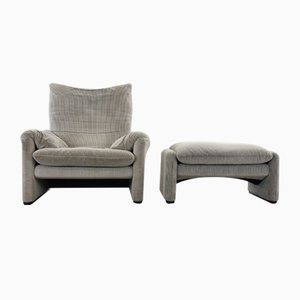 Gray Striped Fabric Maralunga Lounge Chair and Footstool Set by Vico Magistretti for Cassina, 2000s