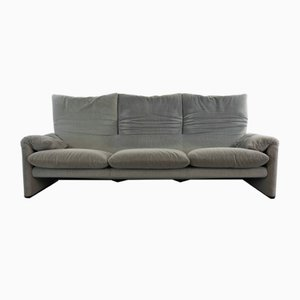Gray Striped Fabric 3-Seater Maralunga Sofa by Vico Magistretti for Cassina, 2000s