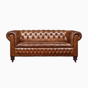 Antique Brown Leather Chesterfield Sofas, Set of 2