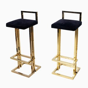 Brass Bar Stools from Maison Jansen, 1974, Set of 2