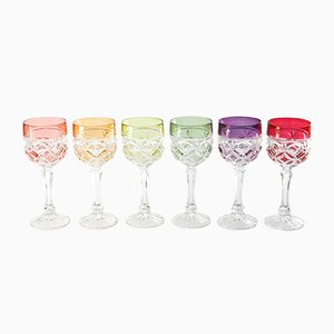 Mid-Century Hand Blown Crystal Wine Glasses from Hofbauer, Set of 6