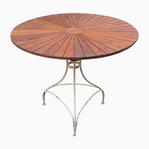 Vintage Französisch-Dänischer Bistro Gartentisch aus Teakholz