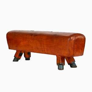 Vintage Leather Gymnastics Pommel Horse Bench, 1930s